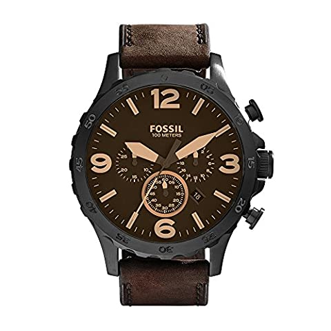 Fossil Men's JR1487 Nate Stainless Steel Watch with Brown Leather Band (Fossil Watchs Nate)