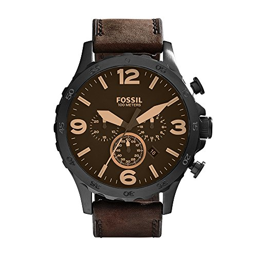 (Fossil Men's Nate Quartz Stainless Steel and Leather Chronograph Watch, Color: Black, Brown (Model: JR1487))