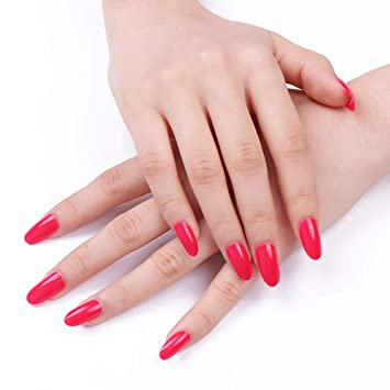 24 uñas postizas de 12 tamaños, color rosa roja maciza, cobertura completa, puntas