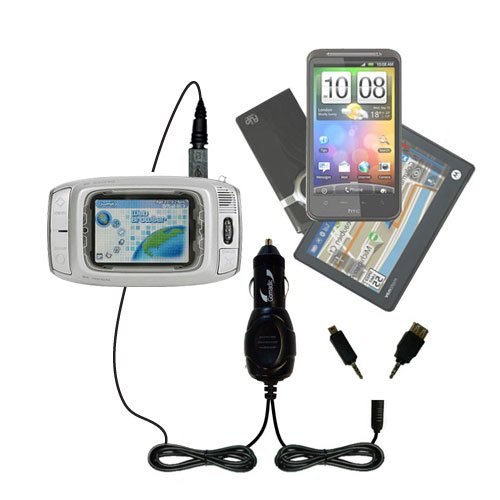 Double Port Micro Gomadic Car / Auto DC Charger suitable for the T-Mobile Sidekick Color - Charges up to 2 devices simultaneously with Gomadic TipExchange Technology T-mobile Color Pda