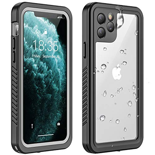 Vapesoon iPhone 11 Pro Waterproof Case, Built-in Screen Protector 360 Full-Body Protection Heavy Duty Shock-Proof dust-Proof Cover Case for iPhone 11 Pro 2019(5.8 Inch)-Black/Clea