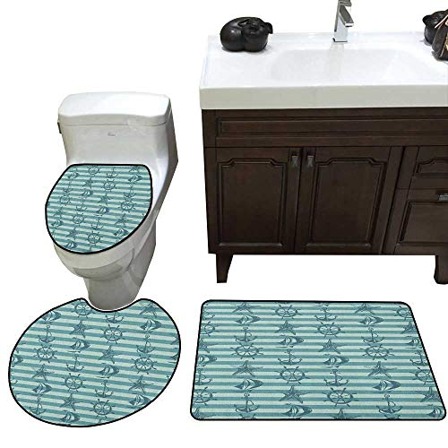 Ships Wheel 3 Pc Bath Rug Set Retro Marine Pattern with Ship Wheel Anchor and Starfish on Striped Background Toilet Floor mat Set Teal Beige
