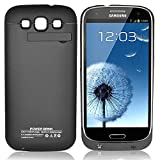 s3 battery case - Zeox Samsung Galaxy S3 Rechargeable External Backup Battery Case 3200 mAh Power Built in Battery With Media Kick Stand For Samsung Galaxy S3 i9300 - Black (More Juice To Boost S3 Power)