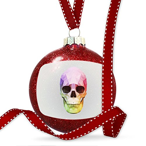 Christmas Decoration Low Poly Animals Modern design Rainbow Skull Ornament by NEONBLOND