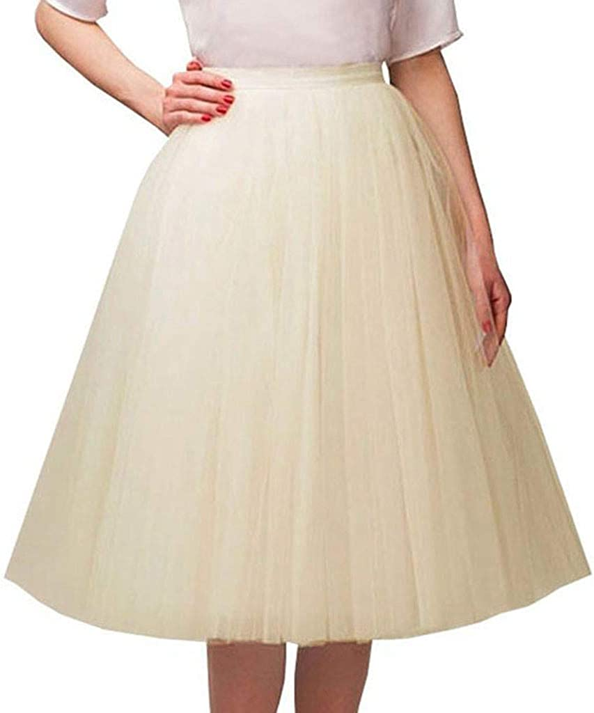 LINGS Womens Teen Adult Classic Elastic 5 Layered Tulle Tutu Skirt for Dress-up Parties Halloween Christmas Costumes Dancing
