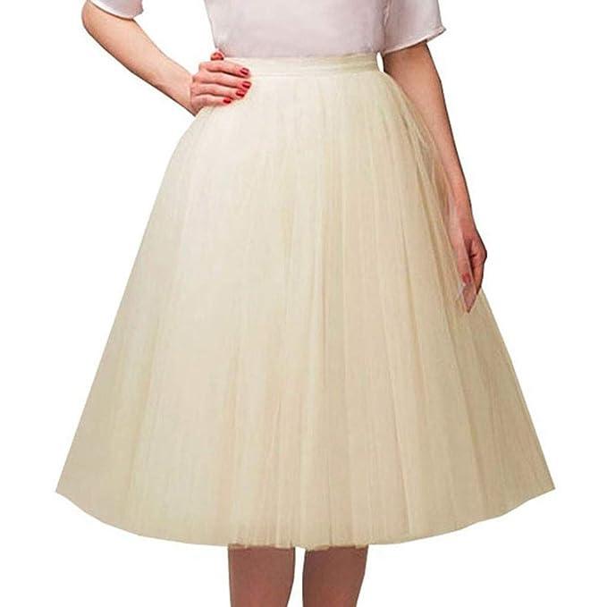 f5bbb3b46 Loyalt Elastic Waist Chiffon Petticoat Puffy Tutu Tulle Skirt Princess  Ballet Dance Plinth Beige