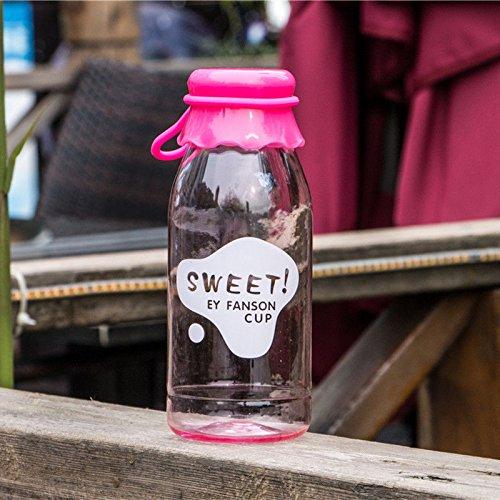 MAZIMARK-Popular Clear My Milk Bottle Sport Fruit Juice Water Cup Portable Travel Bottle (pink) by MAZIMARK