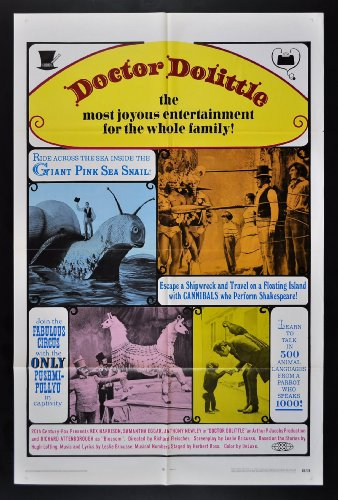DOCTOR DOLITTLE * CineMasterpieces 1SH ORIGINAL MOVIE POSTER 1969 RE RELEASE ANIMAL VET ZOO PET LOVER from CineMasterpieces