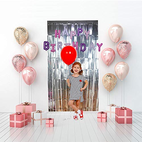 Metallic Tinsel Foil Fringe Photo Backdrop Decoration (3.3 ft x 9.8 ft) for All Parties Events Birthday,Bridal,Wedding,Karaoke,Holiday,Prom,Graduation etc. by CovalentTM (Silver) ()
