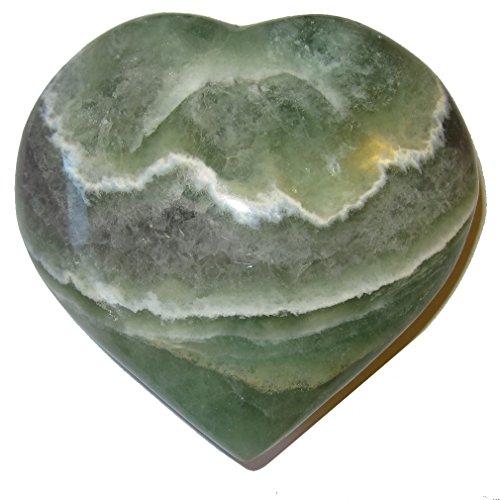 Fluorite Heart 51 Big Shiny Green Purple Crystal White Lace Love Serenity Healing Stone 4'' by SatinCrystals