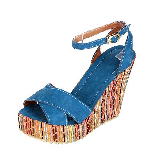 Carolbar Women's Fashion Candy Color High Heel Wedge Buckle Sandals Blue Z1YpWy3