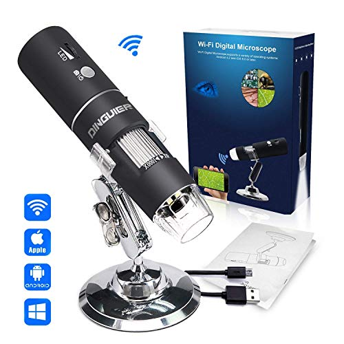 (Wireless Digital Microscope, DINGUIER 50X to 1000X Magnification WiFi USB Microscope with 8 LED HD 1080P 2MP Camera, Handheld Microscope Endoscope Magnifier for iPhone Android, iPad Windows MAC)