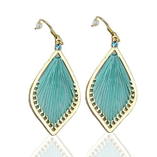 F-U 18k Gold Plated Dangle Drop Earrings Handmade Green Line Hook Earrings 2''