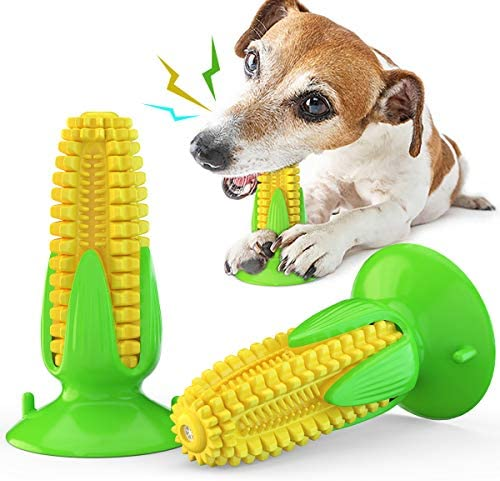 Acecy Dog Chew Toys Indestructible, Puppy Toys from 8 Weeks Teething Toy, Interactive Corn Suction Cup Squeaky Toys for Small Medium Large Breed