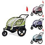 SAMAX Children Bike Trailer 2in1 Kids Jogger Stroller with Suspension 360° rotatable Childs Bicycle Trailer Transport Buggy Carrier for 2 Kids in Green - Black Frame