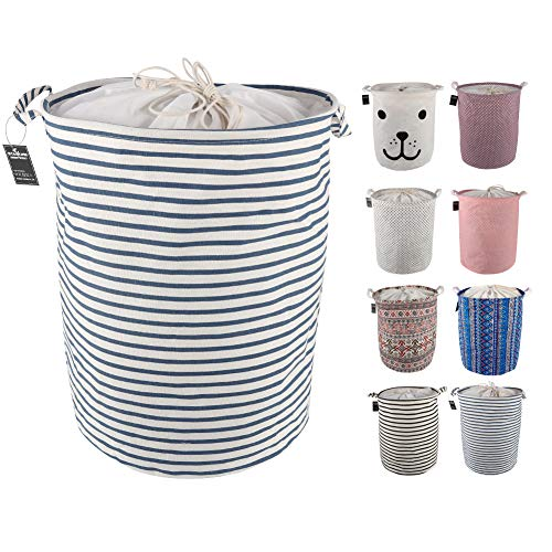 Basket Inner - Stahone Collapsible Laundry Baskets Large Eco Foldable Dirty Clothes Stand Storage Hampers Waterproof Round Inner Drawstring Clothing Bins-Blue Narrow Strips,Medium/(H)17.7