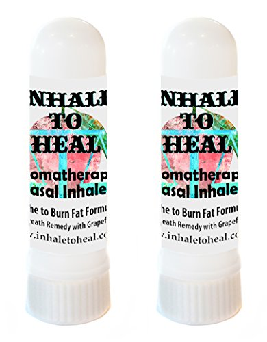 Pack of 2 Inhale to Heal Short Breath Remedy Breathe to Burn Fat Grapefruit Formula Aromatherapy Nasal Inhalers