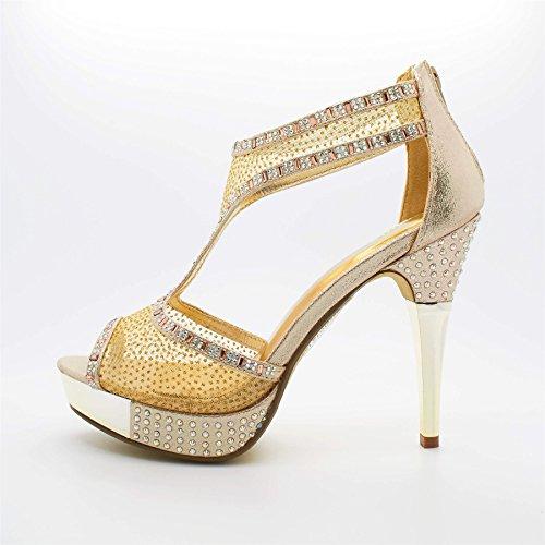 Londres Diamante Doré Chaussures hauts Talons Sandales femmes Eryn de CqCrnpwZx