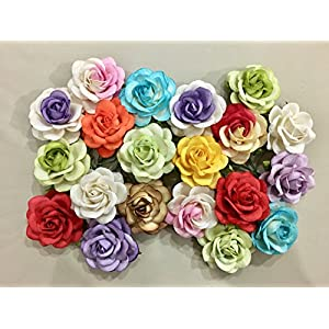ICRAFY 10 Assorted Pastel Rose Mulberry Paper Flower Artificial Craft Scrapbook Wedding Supply Accessory DIY, Blue Yellow Purple Red Pink Color, Size 4 cm. 108