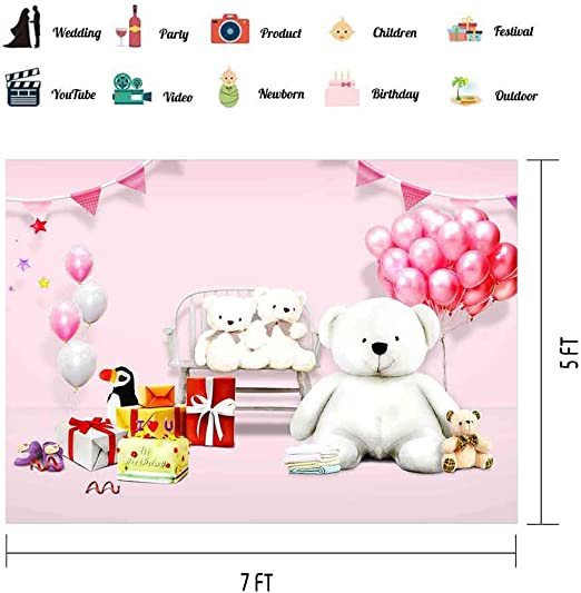 Baby 10x12 FT Photo Backdrops,Cute Toys Childish Teddy Bear Rabbit Bunny Birthday Girls Cheerful Design Background for Party Home Decor Outdoorsy Theme Vinyl Shoot Props Pale Pink Rose Blue