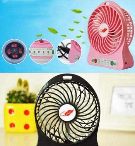 Pink VA USB Portable LED Mini Fan Air Cooler 2400mAh w Rechargeable Lithium Battery Box