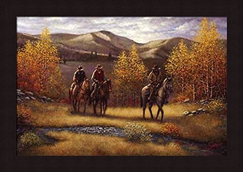 'FALL RIDERS' Cowboy Western Mountain Landscape art FRAME...