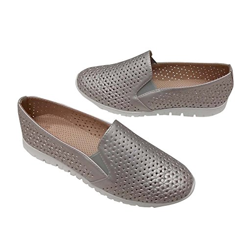 Hengfeng Leather Flat Breath Loafer Shoes for Woman (39 EU, Grey)