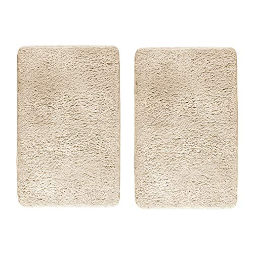 mDesign Soft Microfiber Polyester Non-Slip Rectangular Fuzzy Mat, Extra-Plush Water Absorbent Accent Rug for Bathroom Vanity, Bathtub/Shower, Machine Washable - 34