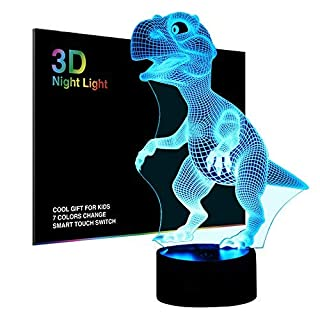Tiscen 3D Illusion Night Light, LED Table Desk Lamps, Dinosaur Nightlights, 7 Colors USB Charge Lighting Bedroom Home Decoration for Kids Christmas Halloween Birthday Gift