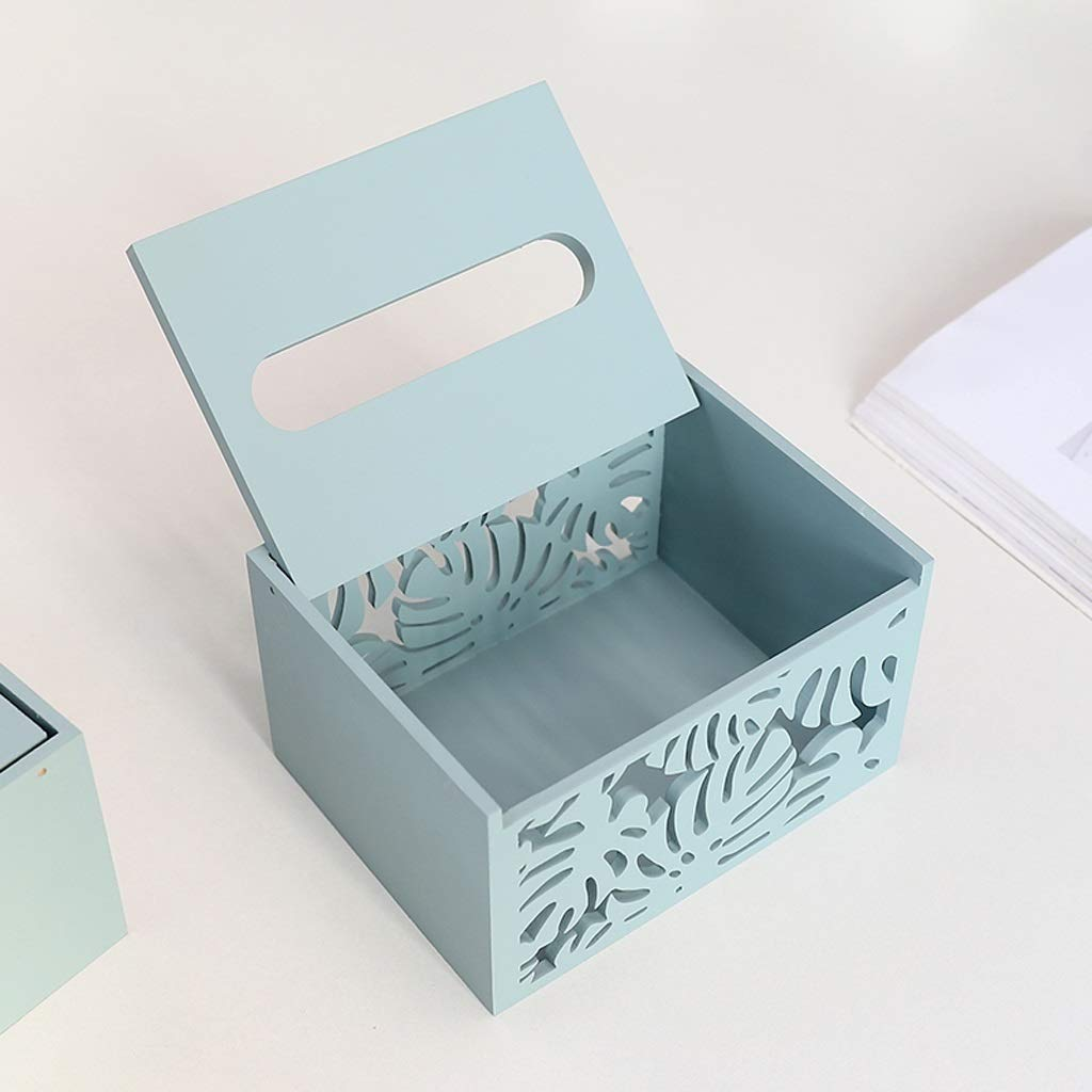 UCYG Nordic Wooden Tissue Box Modern Home Living Room Coffee Table Decoration Desktop Creative Storage Napkin Box,Blue, White (Color : Blue, Size : A) by UCYG