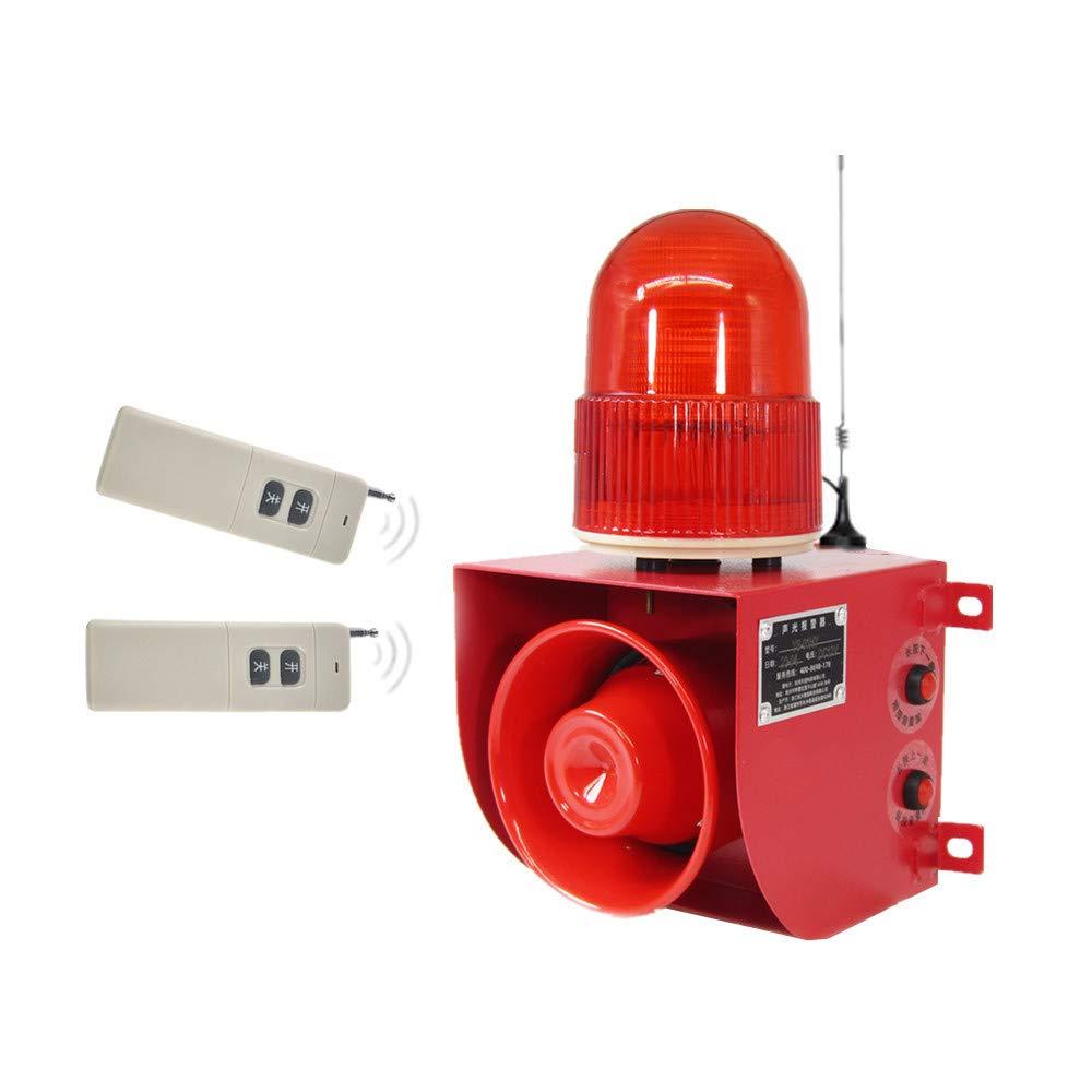 Wireless Remote Control Alarm Siren Horn with 2 Remotes Industrial Sound Light Alarm Security Siren Horn Alarm Waterproof Emergency Strobe Warning Light 120dB Outdoor AC 110V
