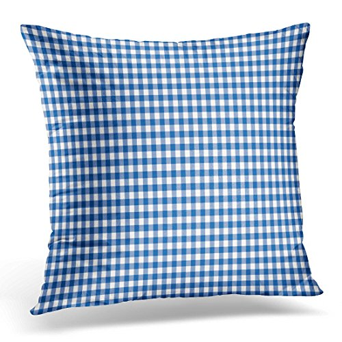 TOMKEYS Throw Pillow Cover Colorful Abstract Dark Blue Gingham Pattern White Check Decorative Pillow Case Home Decor Square 18x18 Inches Pillowcase (Coral Colored Napkins Paper)