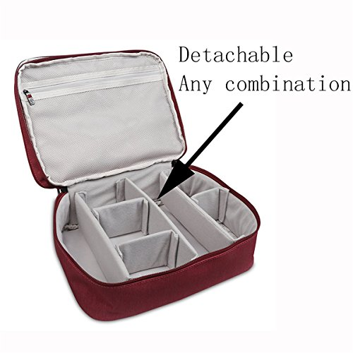 BUBM DPS-L RED Portable Travel Gadget Organizer Double Layers Electronics Accessories Bag Data Wire Storage Package (Red,Large) by BUBM (Image #4)