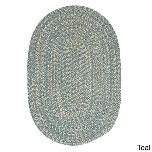 Colonial Mills Urban' Wool Blend Flat Braided Rug - 2' x 3' Teal Beige, Natural, Off-White