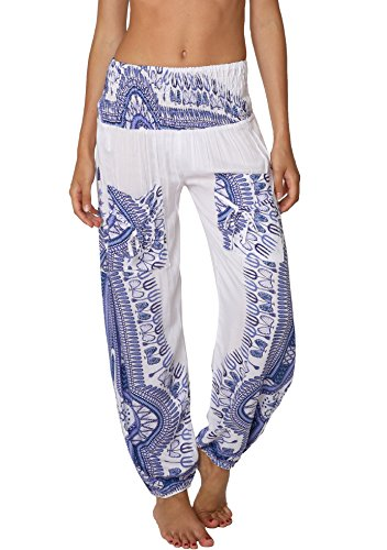 - INGEAR Smocked Harem Pants Hippie Bohemian Casual Gypsy Print Yoga Baggy Boho (Small, White/Blue)