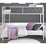 Avenue Greene Chesterfield Grey Upholstered Bunk Bed, Angled ladder for safe climbing