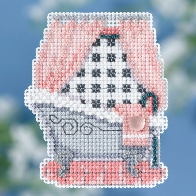 Classic Bathtub Beaded Counted Cross Stitch Ornament Kit Mill Hill 2018 Spring Bouquet MH181814