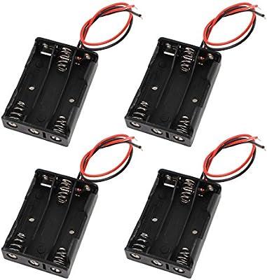 Sourcingmap® 4 pcs Cables Conector 3 x AAA 1,5V batería Estuche de ...