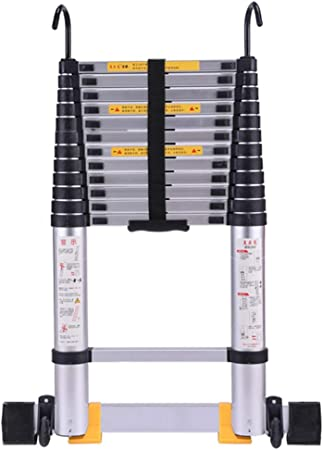 Escalera extensible Escalera telescópica Escalera telescópica de 3m / 4m / 5m / 6m de largo con ganchos, Escaleras