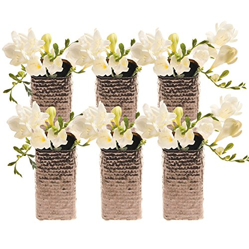 Chive - Weave, Small Square Ceramic Bud Flower Vase, Decorative Floral Vase for Home Decor Living Room Centerpieces and Events - Bulk Set of 6 Metallic Finish (Bronze Gold)