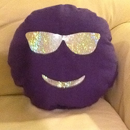 Emoji Like Soft Purple Pillow Stuffed Top Plush Toy Cushion Smile Shades Glitter Glasses