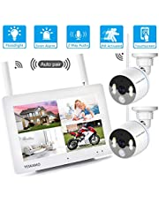 """YESKAMO Wireless CCTV 1080P Floodlight Camera Systems with 7"""" Portable Touchscreen Monitor & 2pcs Spotlight WiFi Cameras, Outdoor Home Security Camera, Support SD Card, Two Way Audio, PIR Activated"""