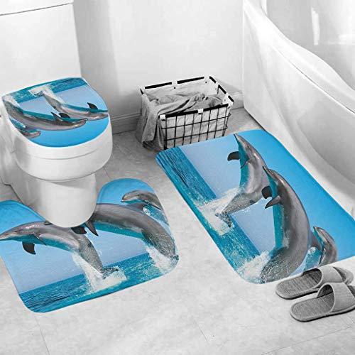 Bathroom Mat Sets 3 Piece Carpet Doormats Decor Bathroom Mat and Rugs Bath Mat for tub Kids Floor, Non-Slip Fish Dolphin sea Turtle Ocean Bathroom Mat Carpet Doormats (E)