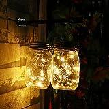 UniM Solar Mason Jar String Lights (Mason Jar & Handle Included) - 10 LED Lights Jar Waterproof Hanging & Path Light Garden Outdoor Solar Lantern & Table Lantern (2-Pack, Warm White)