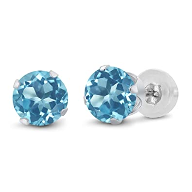 5c1ba97f6 Amazon.com: Gem Stone King 14K White Gold Swiss Blue Topaz Stud Women's  Earrings 2.00 Ct Gemstone Birthstone Round 6MM: Jewelry