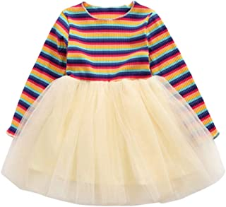 Weilov 6months-4years Toddler Baby Kids Girls Long Sleeve Rainbow Striped Tulle Patchwork Princess Dress Clothes Fashion Clothing Birthday for Children in Autumn Winter Daily Wearing