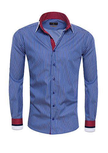 Giorgio Capone - Chemise casual - À Rayures - Homme -  bleu - X-Large