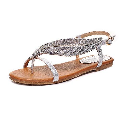AllhqFashion Damen Getrennt Zehe Ohne Absatz Eingelegt PU Leder Zehentrenner Sandalen Silber