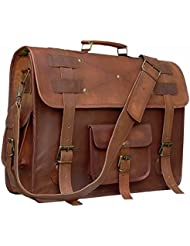 Leather messenger bag laptop briefcase satchel 19 inch computer bags for men and women
