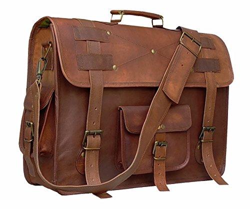 Handolederco. 19 inch leather messenger bags for men women mens briefcase laptop bag best computer shoulder satchel school distressed bag
